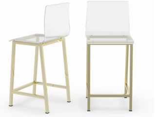 Silver Orchid Svendsen Clear Acrylic Counter Stool  Set of 2    Gold