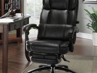 Reclining Black Faux leather Adjustable Reclining Office Chair  Black
