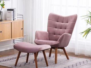 Carson Carrington Aasen Contemporary Silky Velvet Tufted Accent Chair  Mauve