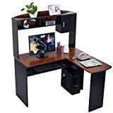 GoplusAr Corner l shaped Ergonomic Study Table Hutch Home Office Student Furniture  Desk