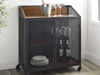 Carbon loft Pierpont Industrial Mesh Bar Cabinet   Dark Walnut