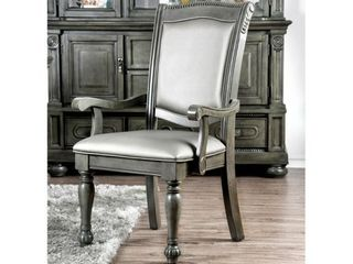 Furniture of America Tima Traditional Grey Dining Arm Chairs  Set of 2