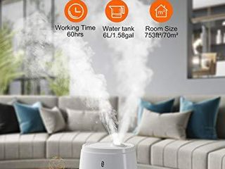TaoTronics Humidifiers for Bedroom  6l  Warm and Cool Mist Humidifiers For Home  Top Fill Ultrasonic Air Humidifier  Customized Humidity  Remote Control  Sleep Mode  lED Display  Whisper Quiet
