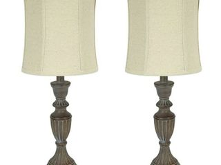 25 inch Rustic Whitewashed Finish Table lamps   Set of 2