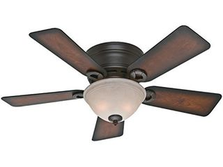 Hunter Conroy Indoor low Profile Ceiling Fan with lED light and Pull Chain Control  42  Onyx Bengal