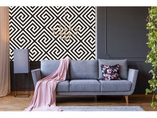 Geometrical Black and White Removbale Wallpaper   10 ft H x 24 inch W
