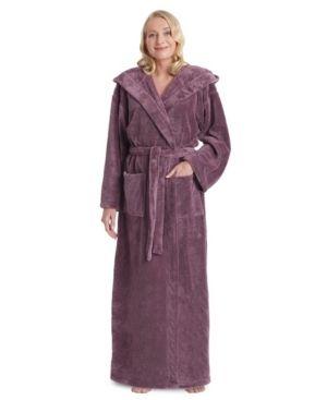 Women s Hooded Premium Fleece Full length Bathrobe Turkish Soft Plush Robe
