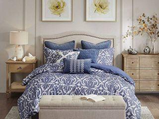 Madison Park Signature Maison Blue Cotton Clip Jacquard Damask Comforter Set