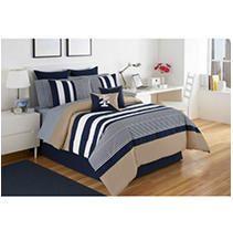 IZOD Classic Stripe 4 Piece White  Blue  and Khaki Comforter Set