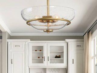 Mid Century 3 light Semi Flush Mount Ceiling lighting Fixture Gold   W12 x H9    W12 x H9
