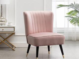 Elon Contemporary Velvet Upholstered Accent Chair  Pink