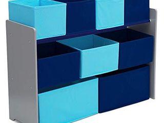 Delta Children Deluxe Multi Bin Toy Organizer with Storage Bins  Grey Blue Bins