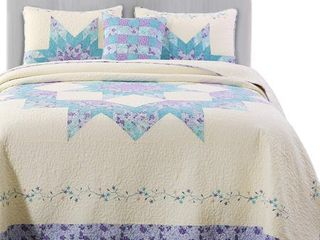Kasentex Oversized Reversible Patchwork Quilt Embroidery