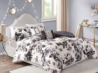 Renee Black  White Floral Print Comforter Set by Intelligent Design