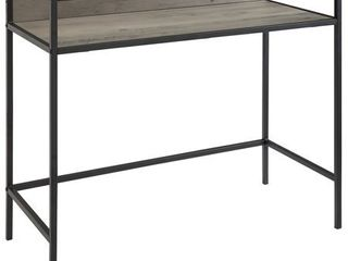 35 inch Metal and Wood Grey Wash Compact Desk with Glass