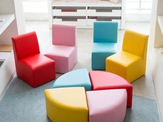 Kinbor Children Sofa  Kids Table   Chair Set  Foam Sofa Set for Toddlers  Activity Chiars for Play Room