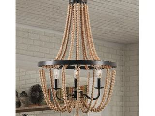 Design Craft Mindy 3 light Wood Bead Chandelier   Gold Bronze