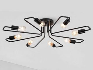 Cintia Black 8 light Sputnik Modern linear Flush Mount