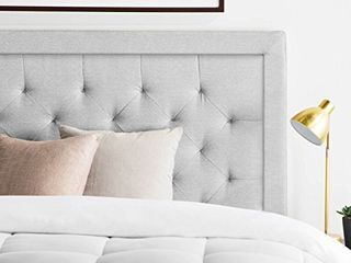 lUCID Bordered Upholstered Headboard with Diamond Tufting for Queen Size Bed Frame  Stone