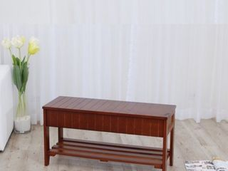 Roundhill Quality Solid Wood Shoe Bench with Storage  Cherry