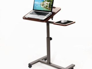 Sit Stand Desk laptop Cart with Side Table by Seville Classics