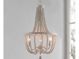Regas White with Weathered Wood Beads 3 light Chandelier
