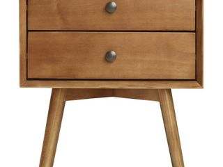 MCM 2 Drawer Solid Wood Nightstand   Caramel  Bid on 23420 for the pair