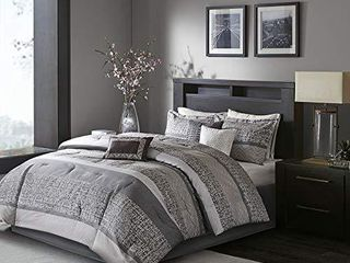 Madison Park luxury Comforter Set Traditional Jacquard Design All Season Down Alternative Bedding  Matching Bedskirt  Decorative Pillows  King 104 x92  Grey Taupe 7 Piece