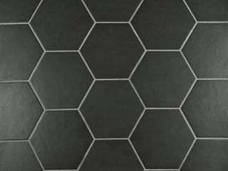 SomerTile 7x8 inch Hextile Matte Nero Porcelain Floor and Wall Tile  Case