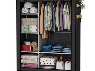 UDEAR Closet Organizer Wardrobe Clothes Storage Shelves  Non Woven Fabric Cover with Side Pockets 41 3 x 17 7 x 66 9 inches Grey
