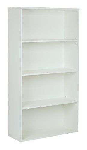 OSP Home Furnishings Prado 4 Shelf Bookcase with 3 4 Inch Shelves and 2 Adjustable 2 Fixed Shelves  60 Inch  White