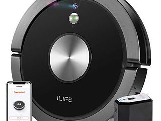 IlIFE A9 Robot Vacuum  Mapping  Wi Fi Connected  Cellular Dustbin  Strong Suction  2 in 1 Roller Brush  Self Charging  Slim Quiet  Compatible with Alexa  Ideal for Hard Floors to Medium Pile Carpets