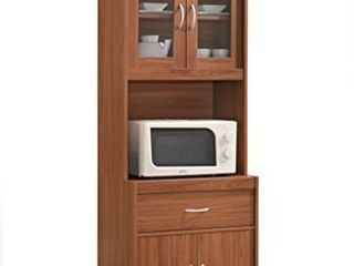 Hodedah long Standing Kitchen Cabinet with Top   Bottom Enclosed Cabinet Space  One Drawer  large Open Space for Microwave  Cherry