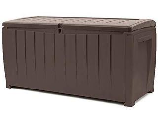 Keter Novel 90 Gallon Resin Deck Box Organization and Storage for Patio Furniture Outdoor Cushions  Throw Pillows  Garden Tools and Pool Toys  Brown Brown