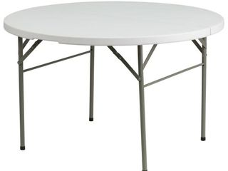 Flash Furniture 48  Round Bi Fold Granite White Plastic Folding Table