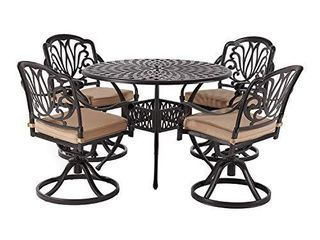 laurel Canyon Aluminum Furniture  Patio Swivel Chair with Cushions for Yard Garden Deck  Dark Brown  Set of 2
