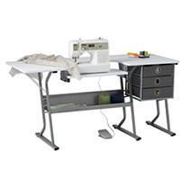 Studio Designs Eclipse Ultra Sewing Machine Craft Table Cabinet  Grey White