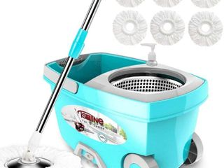 Tsmine Spin Mop Bucket System Stainless Steel Deluxe 360 Spinning Mop Bucket Floor Cleaning System with 6 Microfiber Replacement Head Refills 61 Extended Handle  2x Wheel for Home Cleaning   MINT