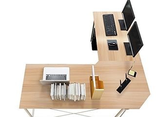 Soges 59 x 59 inches large l Shaped Desk Computer Desk Corner Desk Office Desk Computer Table  White Oak CS ZJ02 MO