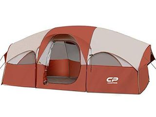 CAMPROS Tent 8 Person Camping Tents  Waterproof Windproof Family Tent  5 large Mesh Windows  Double layer  Divided Curtain for Separated Room  Portable with Carry Bag  for All Seasons   Red