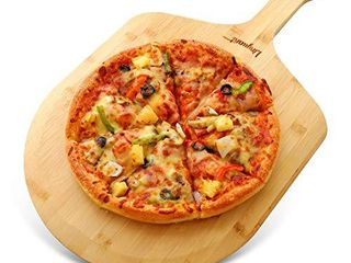 Bamboo Pizza Peel Premium Pizza Board with Handle Natural Pizza Serving Board Wooden Cutting Board for Homemade Pizza Cutting Fruit Vegetables  Breads Cheese and Serving Board   19 6 x 11 8 Inch