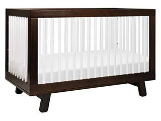 Babyletto Hudson 3 in 1 Convertible Crib with Toddler Bed Conversion Kit in Espresso   White  Greenguard Gold Certified
