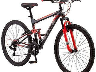 Mongoose Status 2 2 Mens and Womens Mountain Bike  26 Inch Wheels  21 Speed Shifters  Aluminum Frame  Front Suspension a Black Red