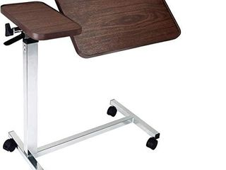 Medical Deluxe Tiltable Overbed Bedside Table w One Touch Height Adjustment Feature  Hospital and Home Use
