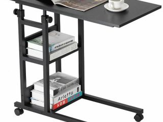 BAOlEJIA C Shaped Adjustable Rolling Computer Side Table with 3 Tier Storage Shelves