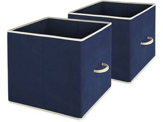 Whitmor 2 Pack Foldable Storage Cube Basket Bins Shelf Organizer Cloth Container Drawers