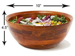 Woodard   Charles large Wooden Serving Bowl for Salads  Fruits  Popcorn  Pasta  10a Diameter x 4 5a Height  10  x 4 5  Cherry Stain