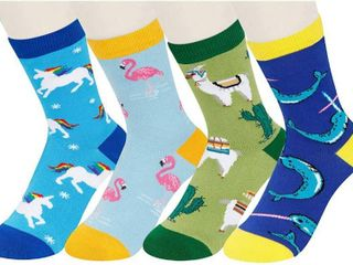 Boys Crazy Funny Animal Shark llama Space Cotton Socks 4 Pack with Gift Box
