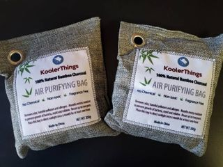2x KoolerThings Bamboo Charcoal Air Purifying Bags  200g  Natural Air Fresheners   Odor Eliminators for Home  Pets  Car  and Closet Deodorizer