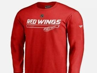 lOT OF 235 Nhl Fanatics Men Detroit Red Wings Authentic Pro Prime Red long Sleeve Shirt